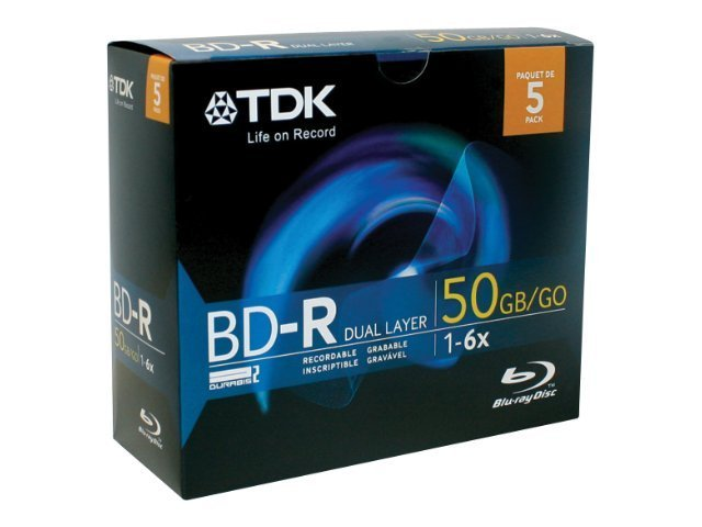 TDK 6x Write-Once Dual Layer Blu-ray Disc 5 Pack by TDK