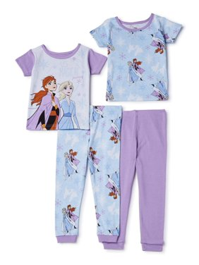 Frozen 2 Toddler Girl Snug Fit Cotton Pajamas, 4pc Set