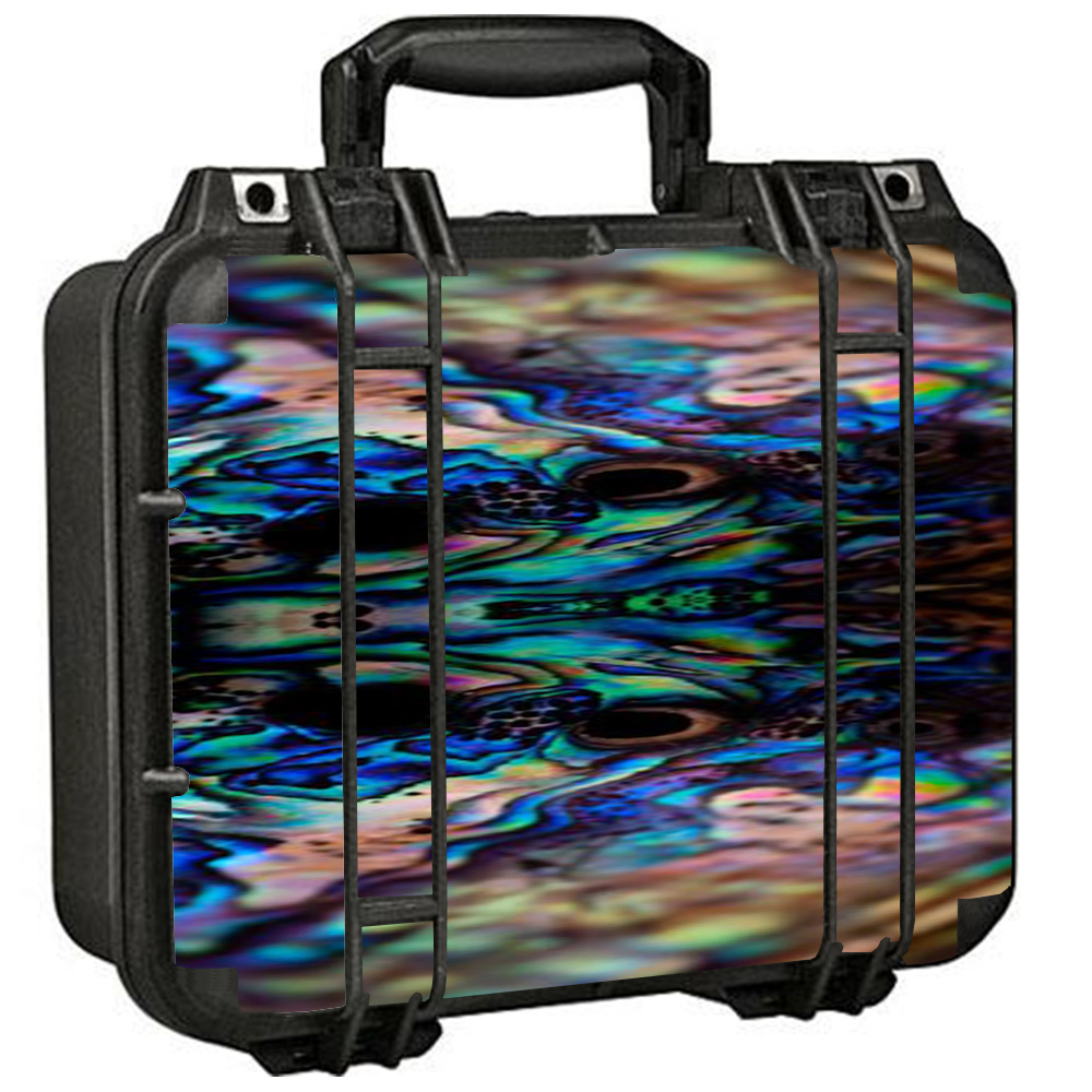 Skin Decal For Pelican 1400 Case / Abalone Sea Shell Gold Blues Beautiful