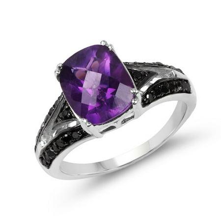 2.87 ct. Genuine Amethyst, Black Diamond and White Diamond Sterling Silver Ring Amethyst Engagement Genuine Ring