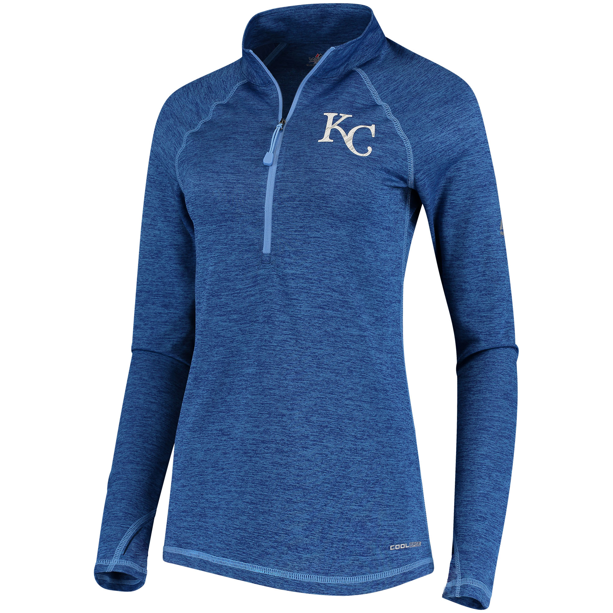 Kansas City Royals Majestic Women's Don't Stop Trying Cool Base Half-Zip Pullover Jacket Royal by MAJESTIC LSG