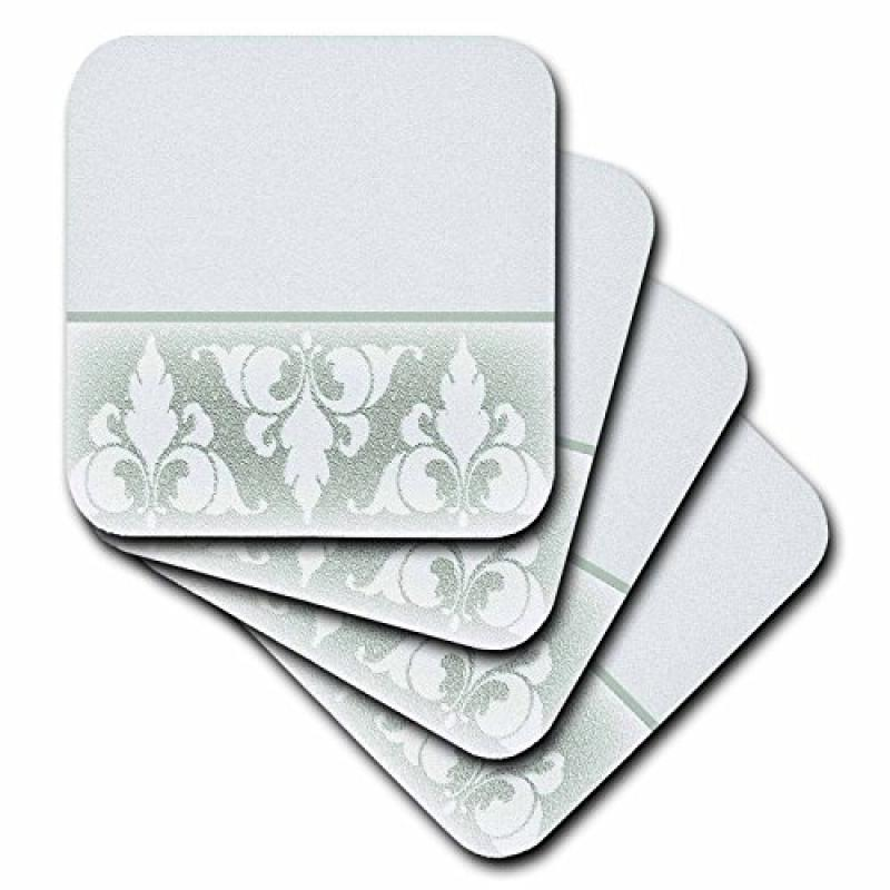 3dRose Green Elegant Fleur de Lis Design , Ceramic Tile Coasters, set of 4