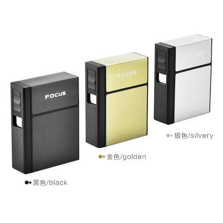 Portable Plastic & Aluminum Cigarettes Box Case with Lighter Business Men Removable USB Charging Lighter Can Hold 20 Cigarettes (Gold Metal Cigarette Case)