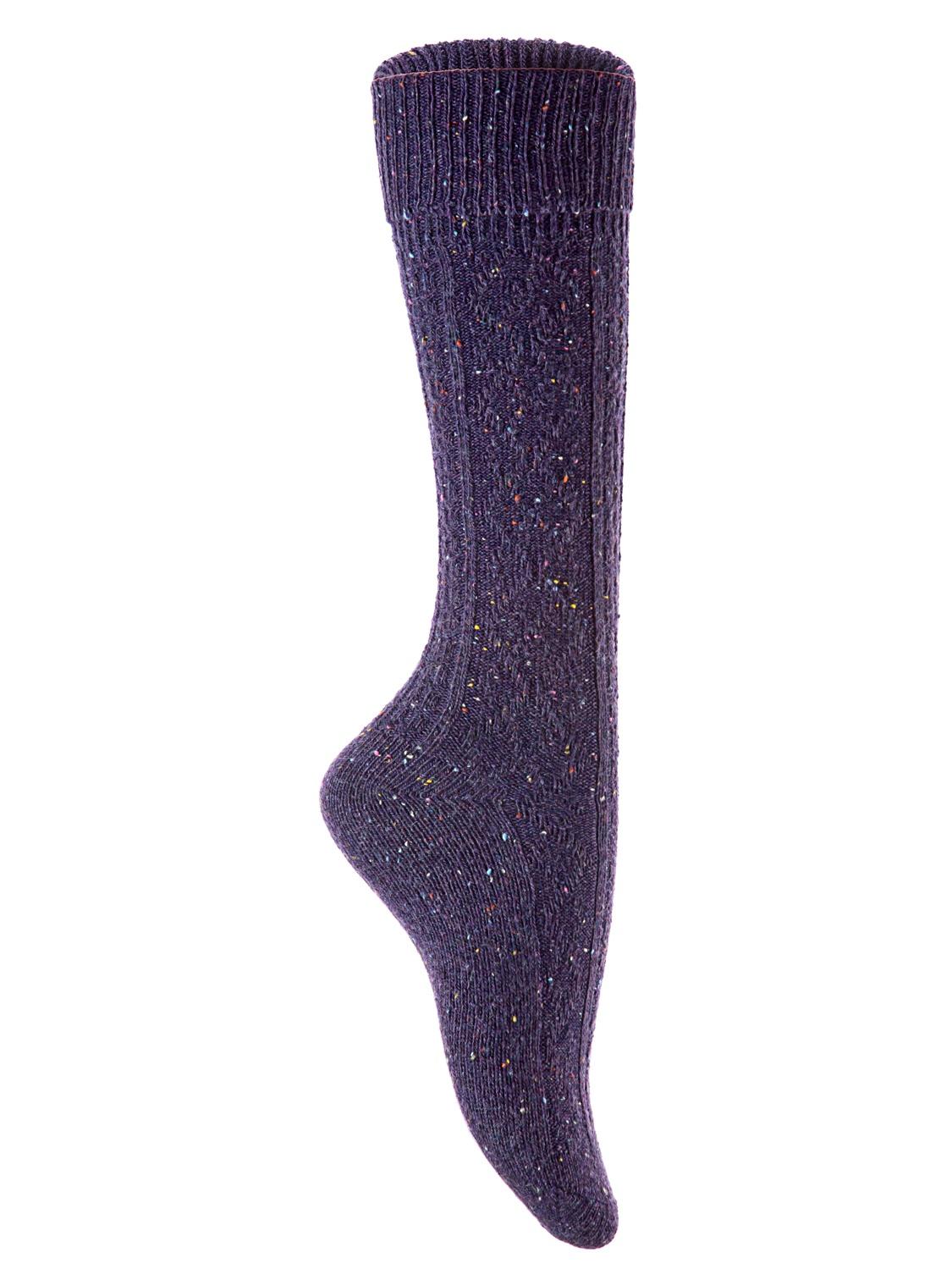 Lian Style Big Girl's 2 Pairs Wool Knee-high Crew Socks Size L (Purple)