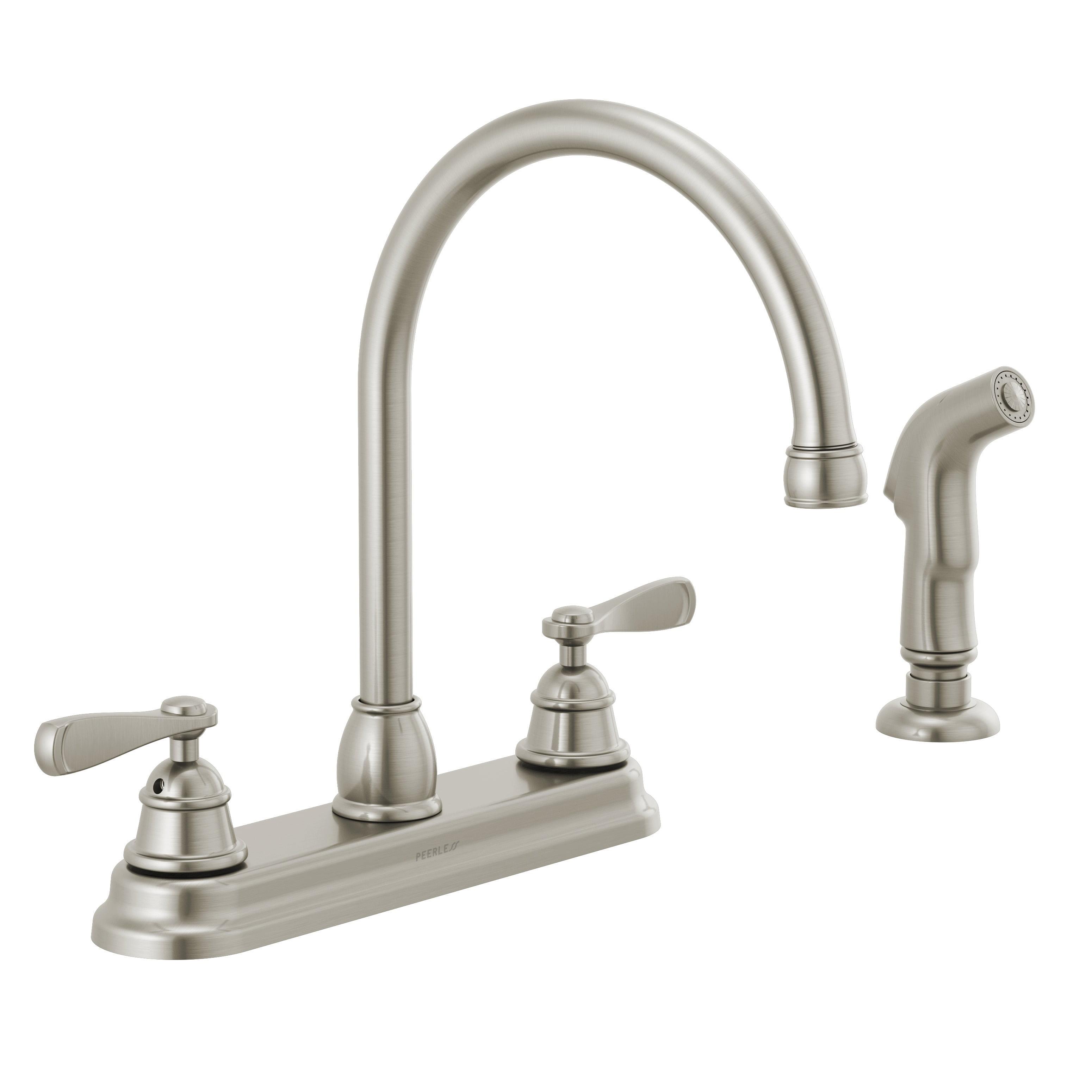 Peerless Two Handle Deck Mount Kitchen Faucet In Stainless Walmart Com Walmart Com