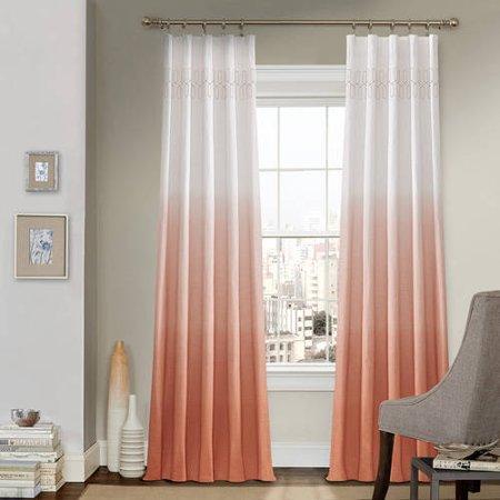 "84""x52"" Arashi Ombre Embroidery Light Filtering Curtain Panel Orange - Vue"