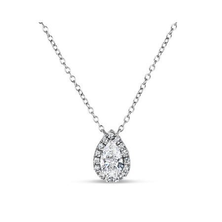 Sterling Silver 2 Tone Pearshaped Created White Sapphire Filigree Side Halo Necklace 18 Inches