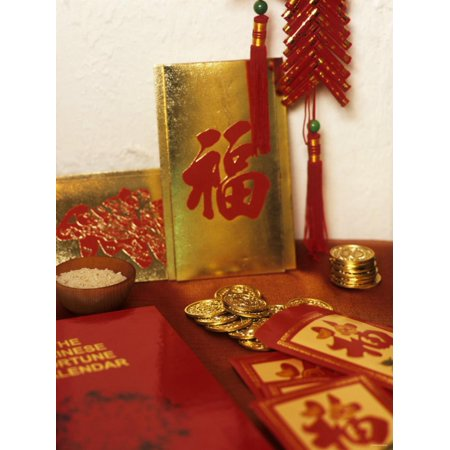 Chinese Good Luck Symbols for New Year (Gold Coins & Rice) Print Wall Art Chinese Good Luck Coins