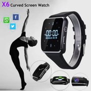 Bluetooth Smart Watch with Camera Heart Rate Monitor for Women Men - Black