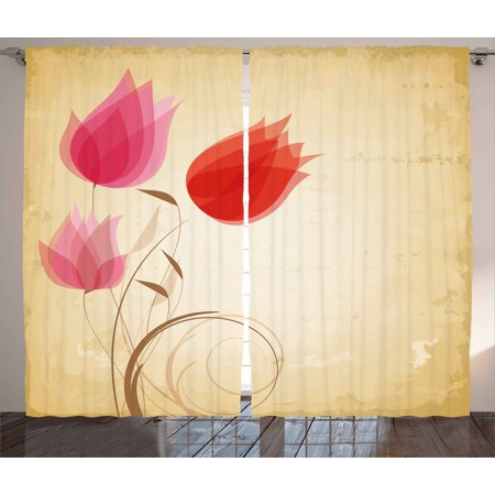 Floral Curtains 2 Panels Set, Tulips Flourishing Hazy Florets Essence Nature Beauty Themed Flower Design, Window Drapes for Living Room Bedroom, 108W X 90L Inches, Sand Brown Red Pink, by Ambesonne