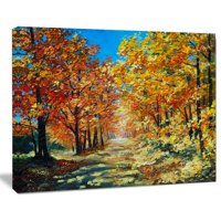 Design Art Bright Day in Autumn Forest Landscape Painting Print on Wrapped Canvas
