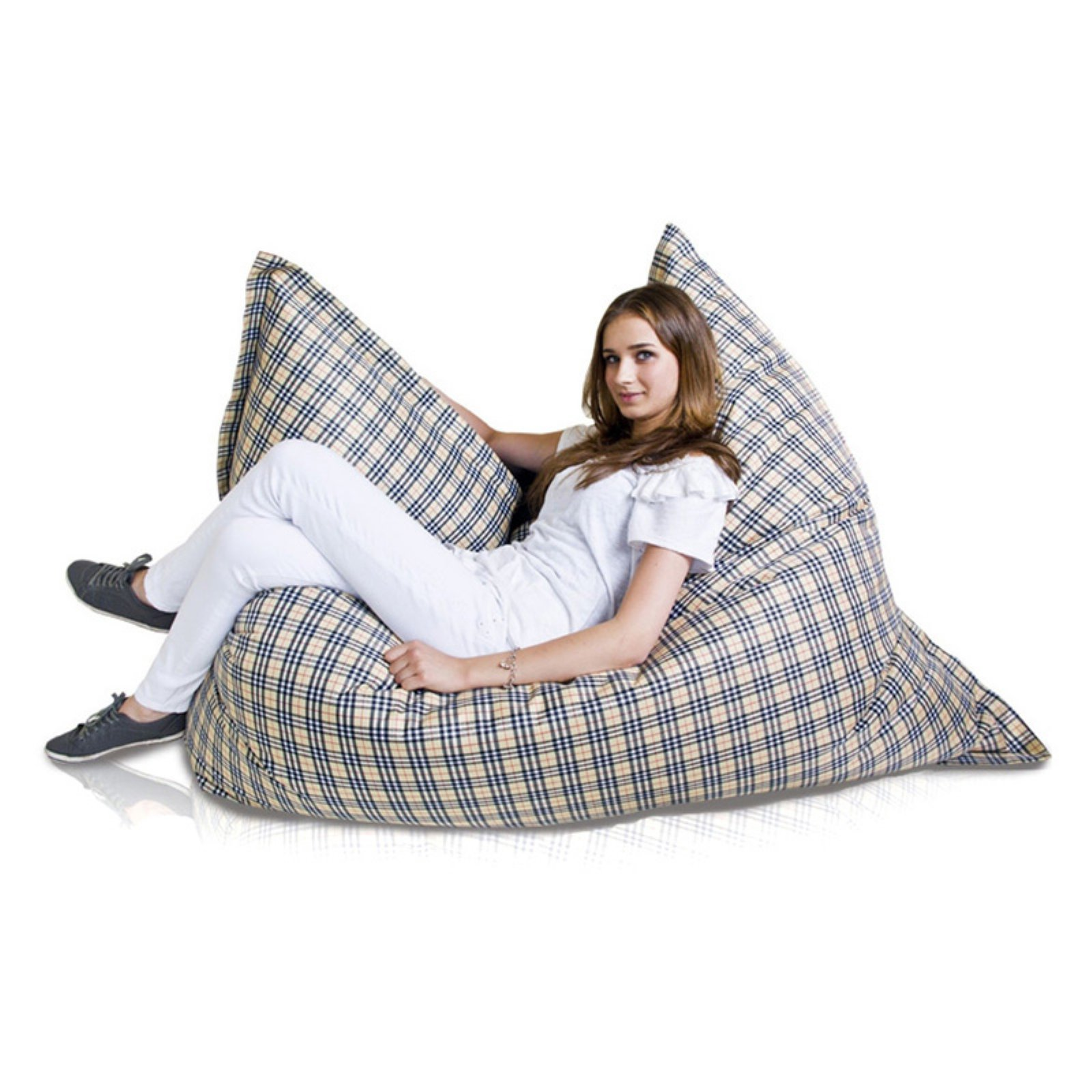 Turbo Beanbags Pillow Style Premium Large Bean Bag Chair - Plaid