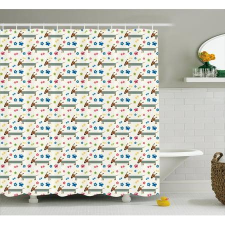 Dog Lover Shower Curtain Wiener Cartoon Dachshund Puppy With Striped Pajamas Flowers And Erflies