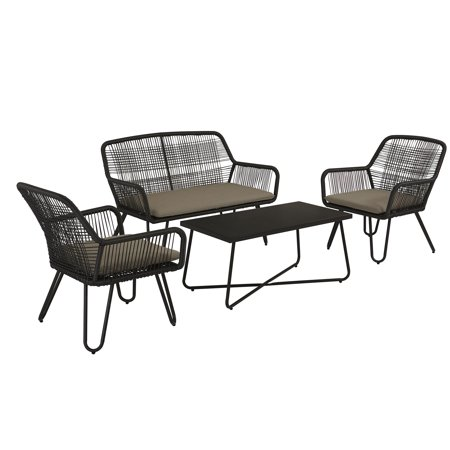 Remarkable Novogratz Poolside Collection Marli Outdoor Conversation Set 2 Patio Lounge Chairs Loveseat Coffee Table Charcoal Gray Pabps2019 Chair Design Images Pabps2019Com