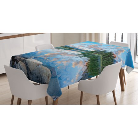 Nature Decor Tablecloth, Long View of Golden Sunrise Skyline at Pyramid Lake Tranquil Canadian Scenery, Rectangular Table Cover for Dining Room Kitchen, 52 X 70 Inches, Blue Green, by Ambesonne for $<!---->