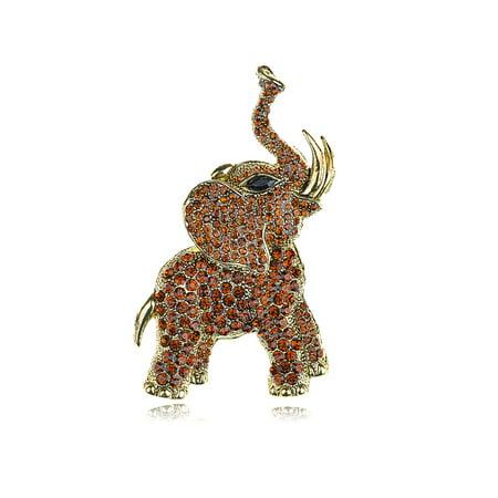 Golden Tone Brown Rhinestones Animal Elephant Trunk Brooch Pin Napier Gold Tone Brooch