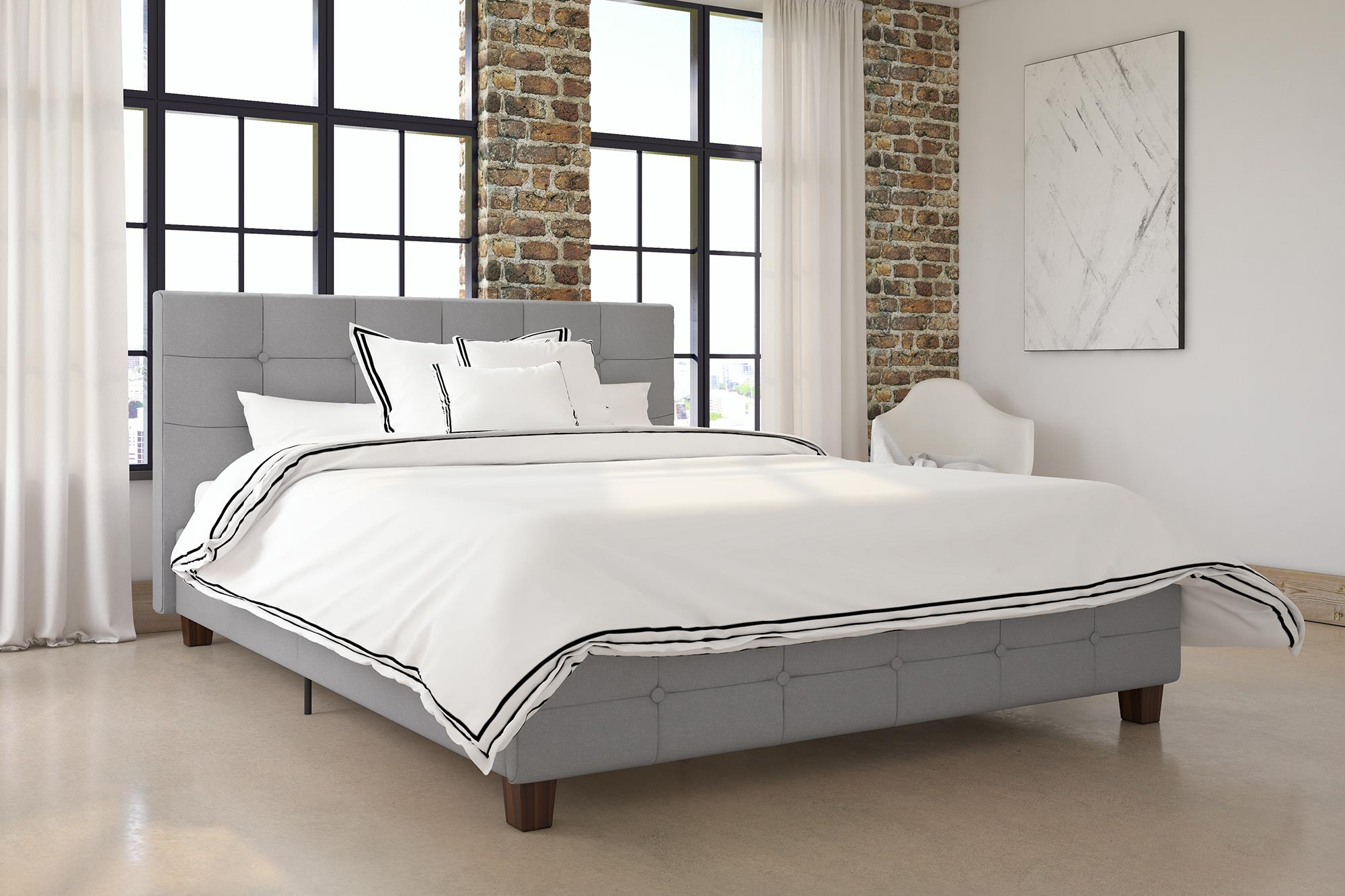 Merveilleux DHP Rose Linen Tufted Upholstered Platform Bed, Button Tufted Headboard And  Footboard With Wooden Slats