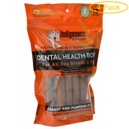 Indigenous Dental Health Bones - Carrot & Pumpkin Flavor 13 Count - Pack of 4 (Carrot Flavor Bone)