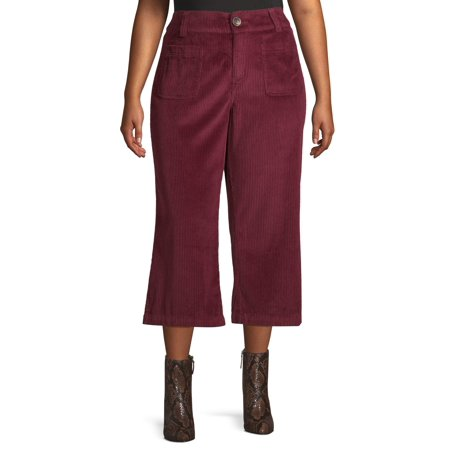 Heart Cord Pants - Per Se Women's Plus Size Wide Leg Crop Cord