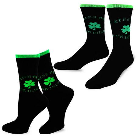 TeeHee St. Patricks Day Woman and Man Couple Cotton Crew Socks - St Pattys Day Socks