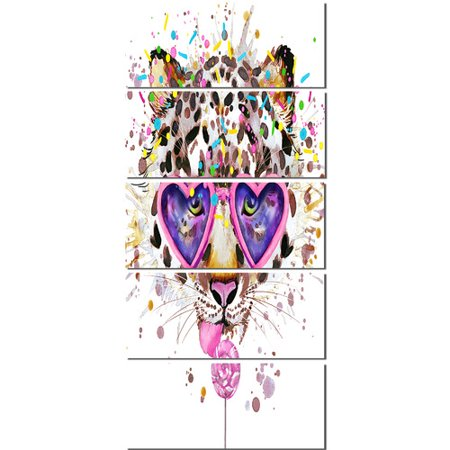 Design Art 'Funny Leopard with Heart Glasses' 5 Piece Painting Print on Wrapped Canvas