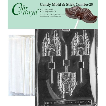 Castle Mold (Cybrtrayd 45St25-K072 Castle Lolly Chocolate Candy Mold with 25 Cybrtrayd 4.5 Lollipop Sticks )