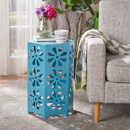 Noble House Daxton Indoor 14 Inch Floral Iron Side Table, Matte Blue