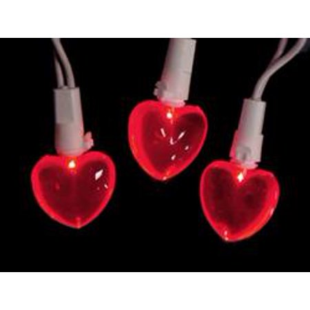 Set of 20 Red LED Mini Valentine's Day Heart Lights - White - Valentines Day Lights