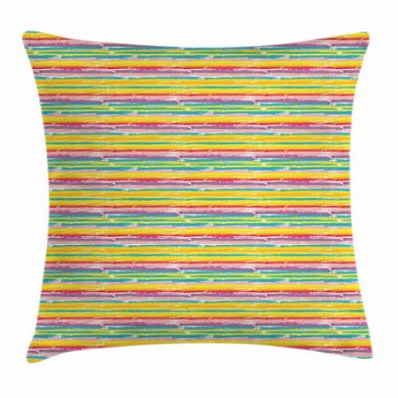 Hand Painted Stripes - Colorful Throw Pillow Cushion Cover, Hand Drawn Brush Marks with Rainbow Theme Paint Smear Stripes Design Worn Out Look, Decorative Square Accent Pillow Case, 16 X 16 Inches, Multicolor, by Ambesonne