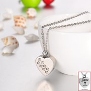 Personalized Crystal Dog Paw Print Heart Cremation Jewelry Keepsake Urn Necklace