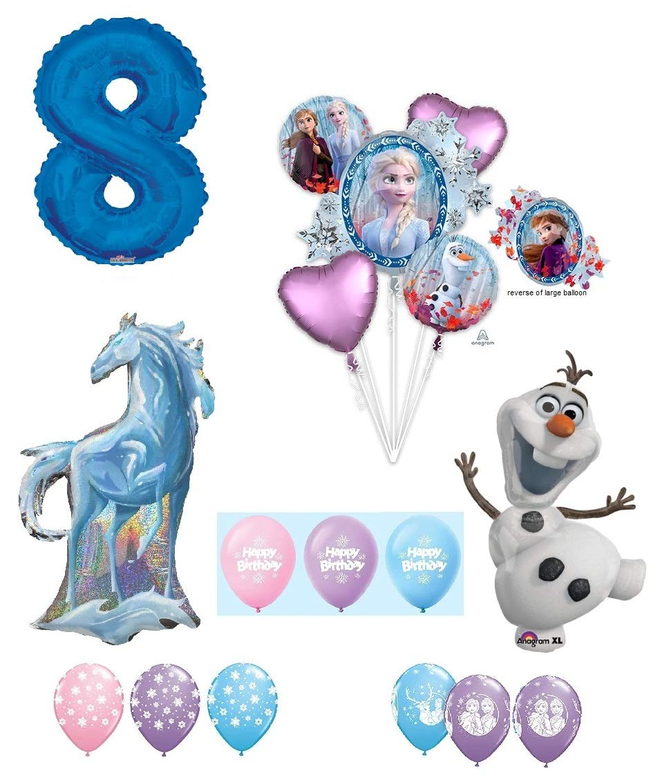 Frozen 2 8th Birthday Anna Elsa Olaf Nokk The Water Spirit Horse Snowman Snowflake 17 Piece Party Balloons Set Walmart Com Walmart Com