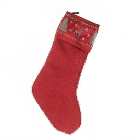 """Image of 20"""" Alpine Chic Red Silver and Dark Gray Reindeer Christmas Stocking"""