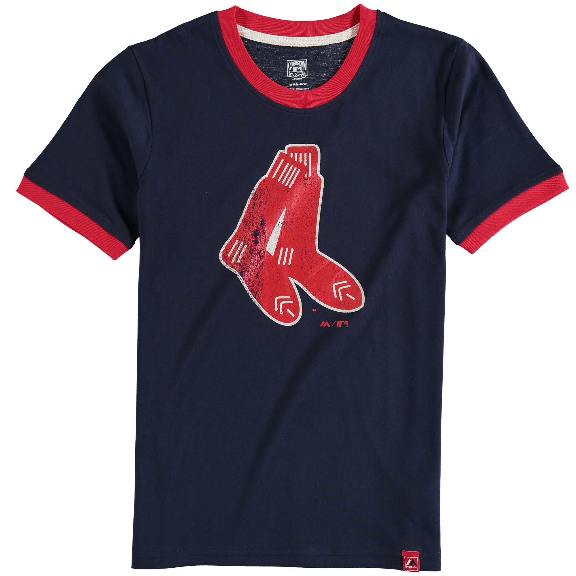 Boston Red Sox Majestic Youth Baseball Stripes Ring T-Shirt - Navy