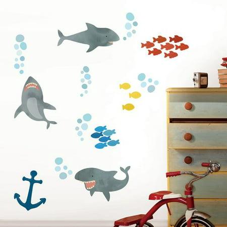 Zoomie Kids Hering Shark Attack 62 Piece Wall Decal Set (Shrek Wall Decals)