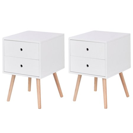 Costway Set of 2 White Side End Table Nightstand Mid-Century Accent Wood Furniture Collection Folding Wood Side Table