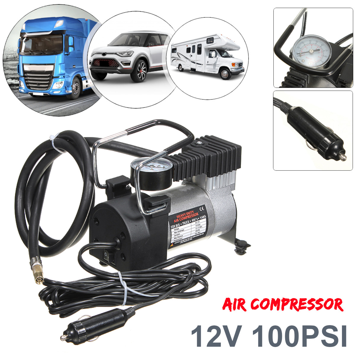 Heavy Duty Portable 100PSI Car Tyre Tire Auto Tire Inflator Pump Air Compressor