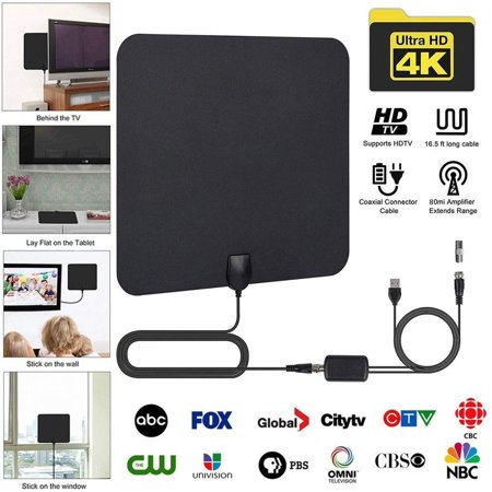 [Latest 2019] Amplified HD Digital TV Antenna Long 65-80 Miles Range –  Support 4K 1080p and All Older TV's Indoor Powerful HDTV Amplifier Signal