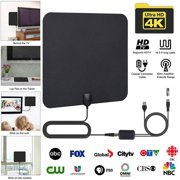 [Newest 2019] Amplified HD Digital TV Antenna Long 65-80 Miles Range  Support 4K 1080p and All Older TV's Indoor Powerful HDTV Amplifier Signal Booster - 16.5ft Coax Cable/AC Adapter