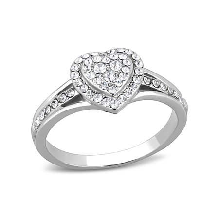 Top Grade Crystal Set Heart in Heart Shape Stainless Steel Women's Ring - Size 7 Austrian Crystal Heart Ring