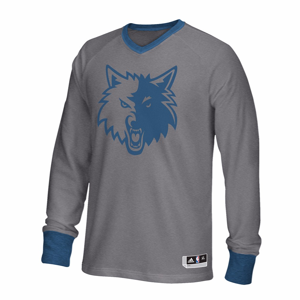 Minnesota Timberwolves NBA Adidas Grey 2016 Authentic On-Court Christmas Day Shooter  Shirt For Men (L)