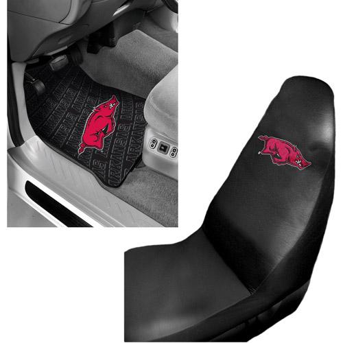NCAA Arkansas 2 pc Front Floor Mats and Arkansas Car Seat Cover Value Bundle