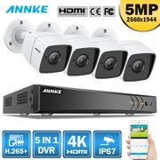 ANNKE 8CH Ultra HD 4K DVR and 4PCS 5MP Camera Security System with NO HDD