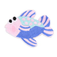 Household Polyester Fish Design Embroidered DIY Sewing Lace Applique Colorful