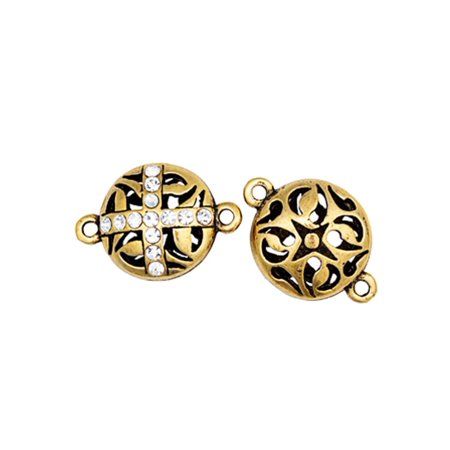 Cut Out Cross - Hollow Round Crescent Cut Out With Cross Channel Crystal Antique Gold-Finished Link With Clear Preciosa Czech Crystal 22.4x14.6mm pack Of 2pcs