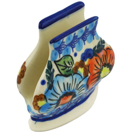 Polish Pottery 3-inch Napkin Holder (Bold Poppies Theme) Signature UNIKAT Hand Painted in Boleslawiec, Poland + Certificate of Authenticity
