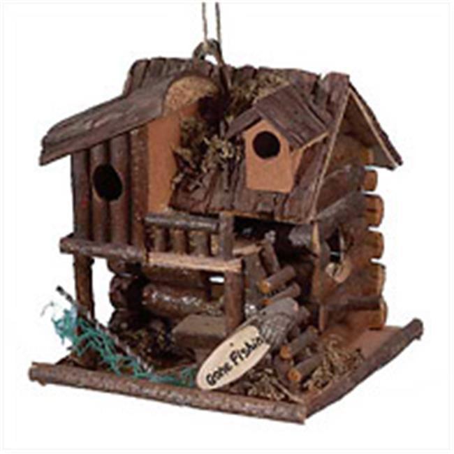 Zingz & Thingz 57070125 Gone Fishing Wood Cabin Birdhouse by Zingz & Thingz