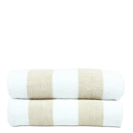 Luxury Hotel Collection 100% - Cotton Pool Oversized Resort Beach Towel, 30x70 Inches - Set of 2 - Cabana - Extra Absorbent 100% Cotton - For Oversized Resort Beach, Gym and Spa - Beige