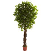 Nearly Natural 7-1/2' Ficus Tree, UV Resistant, Indoor and Outdoor