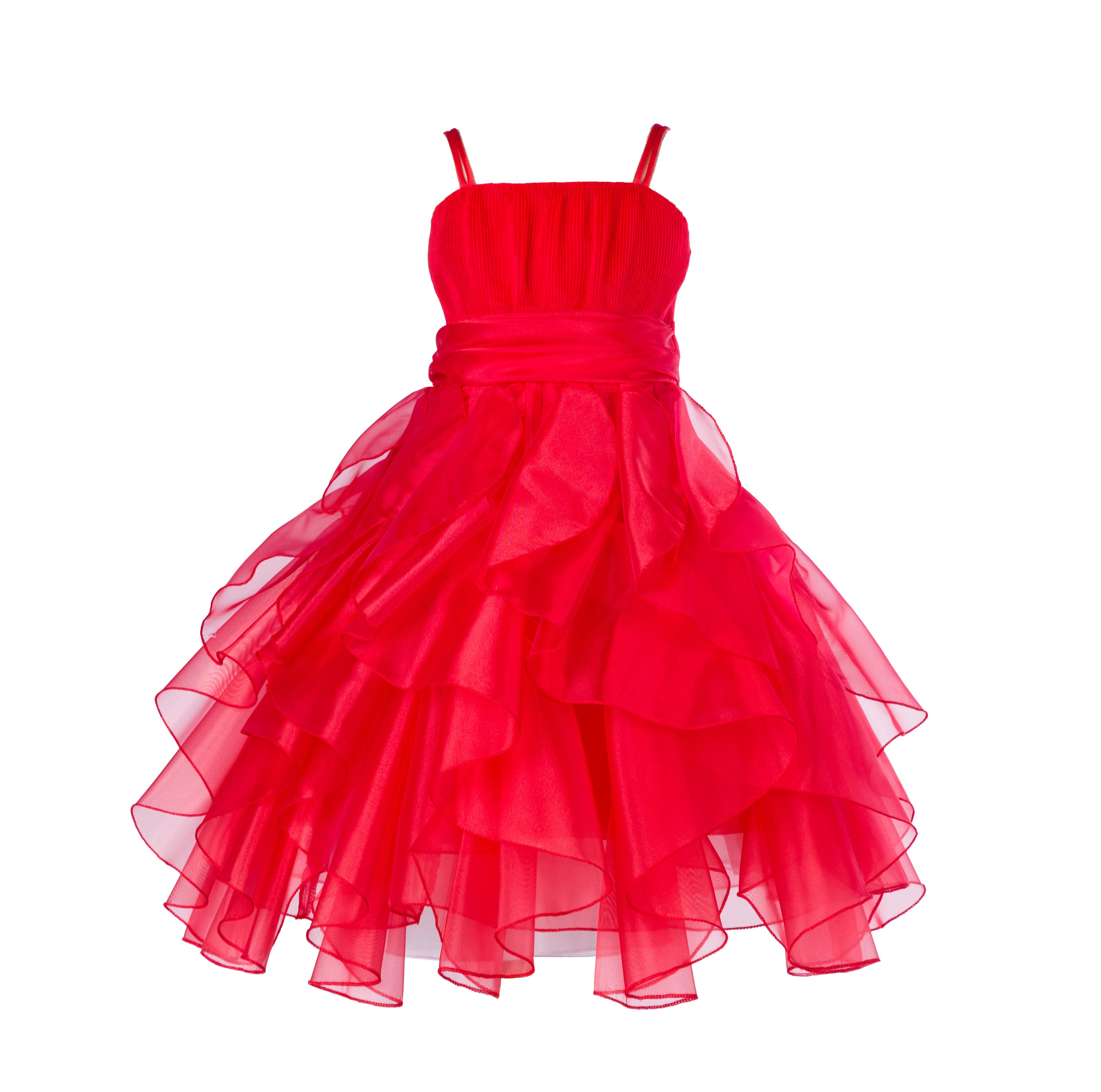 Ekidsbridal Organza Red Ruffled Bodice Christmas Junior Bridesmaid Recital Easter Holiday Wedding Pageant Occasions Communion Princess Birthday Girls Clothing Baptism 151S size 12 Flower Girl Dress