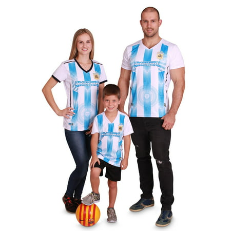 Custom Green Soccer Jerseys (World Cup 2018 National Soccer Jersey, Mens Womens Kids Boys Shirt Sizes XS-XXL, Argentina-kids, Size: Kids - 4)